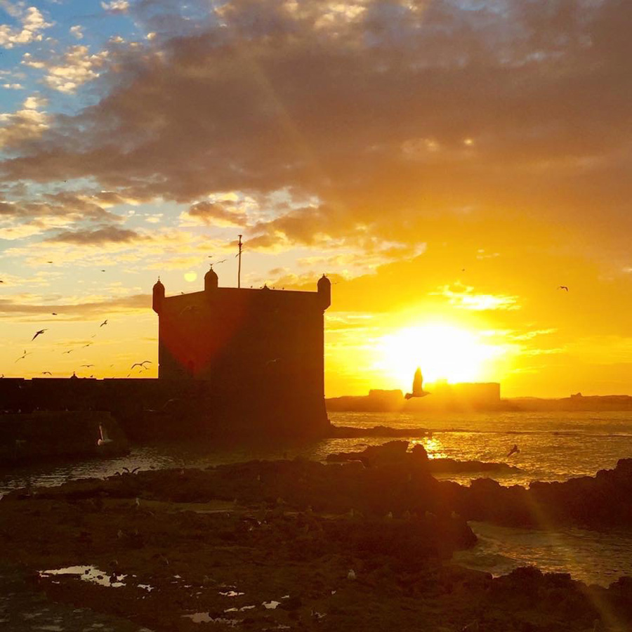 Sunset view of Essaouira with tower game of thrones
