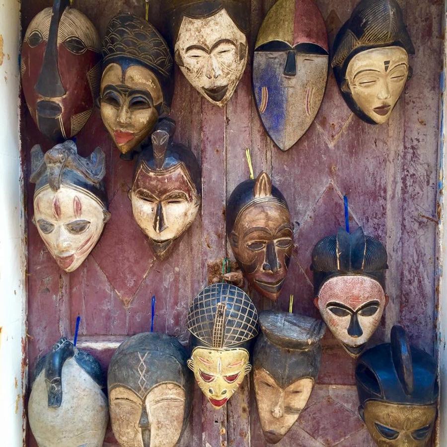 Moroccan market masks in Essaouira