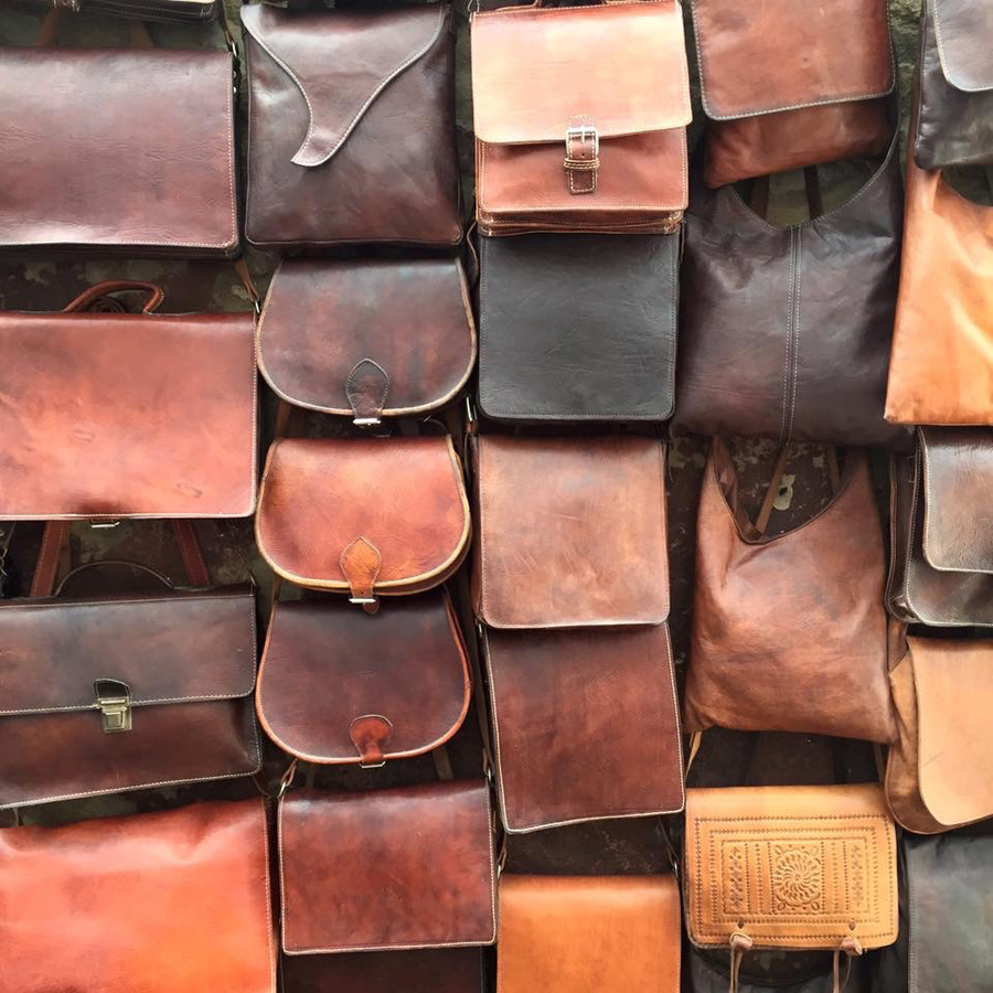 Moroccan leather bags at the market in Essaouira