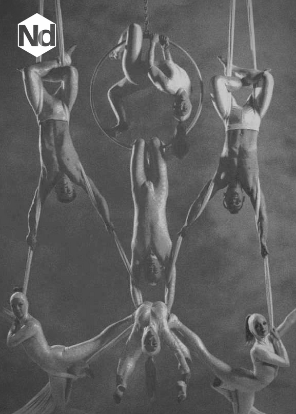 Aerial Display: Left Silk – Nicholas Daines (top), Suzie Barton (bottom) Middle Hoop – Lucy Morgan (top), Mark Tate (middle), Karen Edgington (bottom) Right Silk – Terry Wan (top), Daniela Zocchi (bottom)