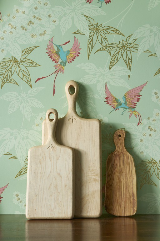 Grove Garden wallpaper by Osborne & Little with Wooden Cutting Boards.jpg