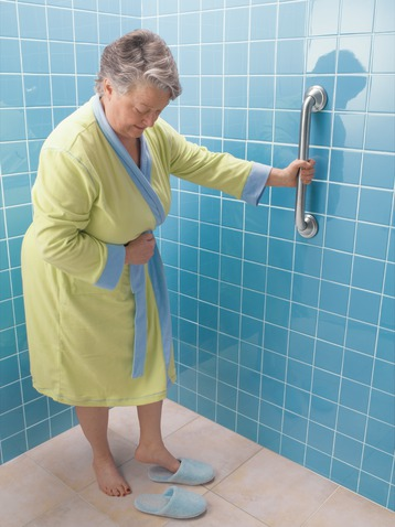 Vertical grab bars from Whitcher Plumbing & Heating make bathing easier.