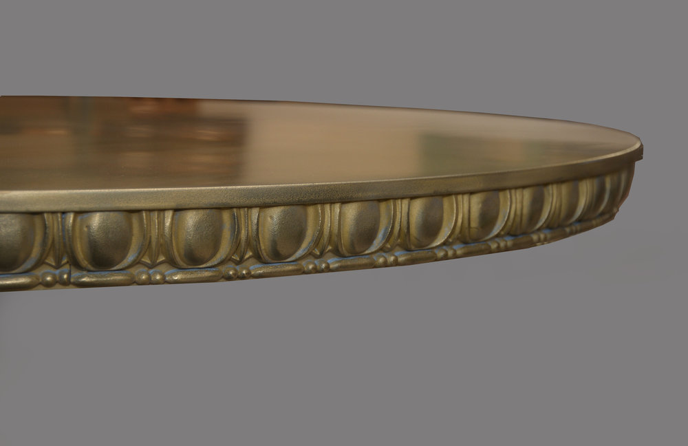 Brass Egg and Dart Edge on Cafe Table