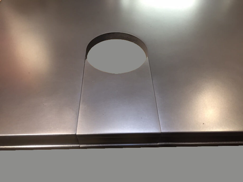 Cold Cast Stainless Steel Countertop with Cutout