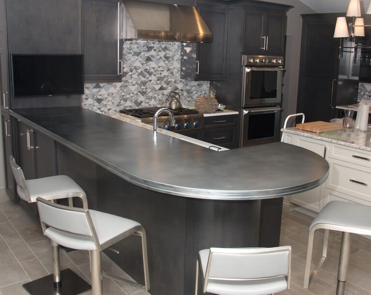 Artisan Cast Zinc Countertop for Westchester Kitchen