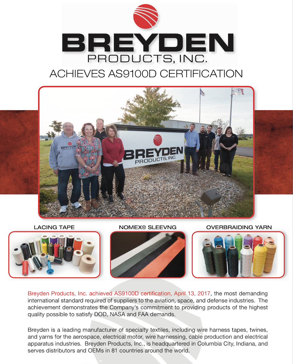 Breyden Products Achieves AS9100D Certification