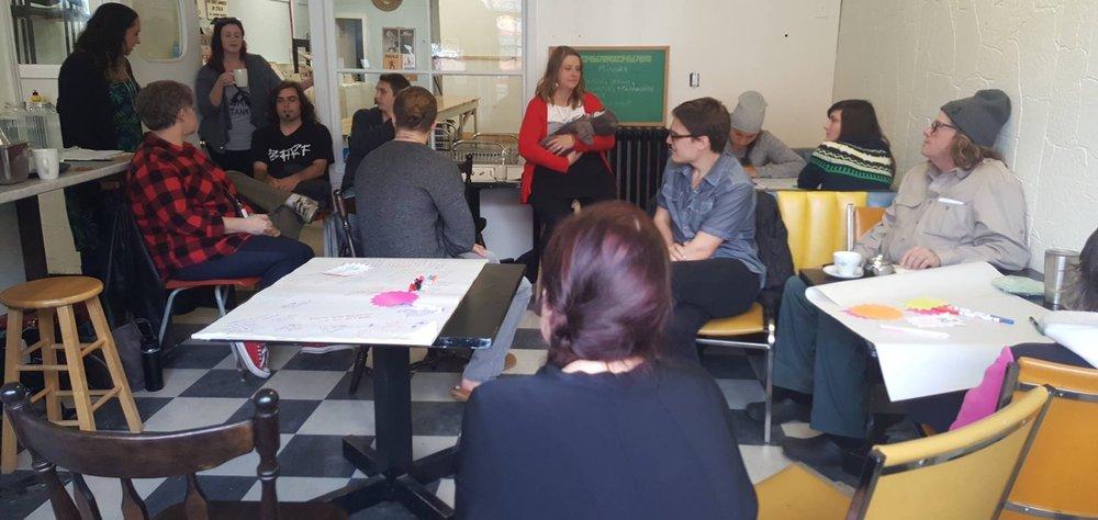 Idea Lab session at Sault Ste. Marie social enterprise Gore Street Cafe