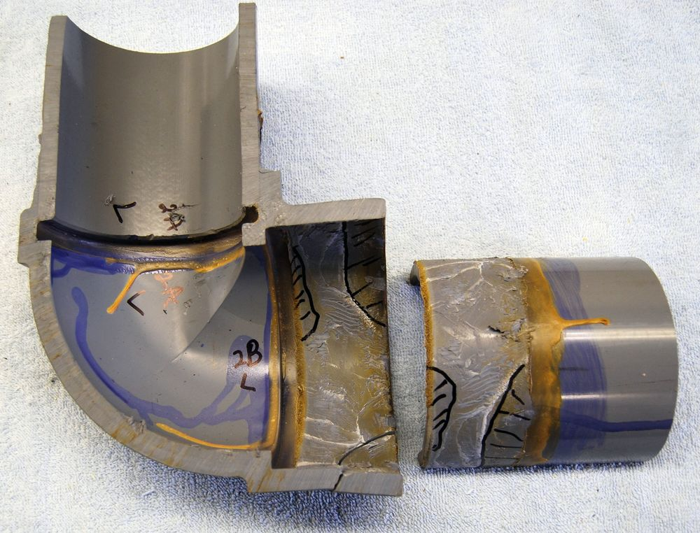 The pipe shown above was short inserted into both elbow joints and there were areas of the joint where there was little or no bonding between the pipe and the fitting socket.