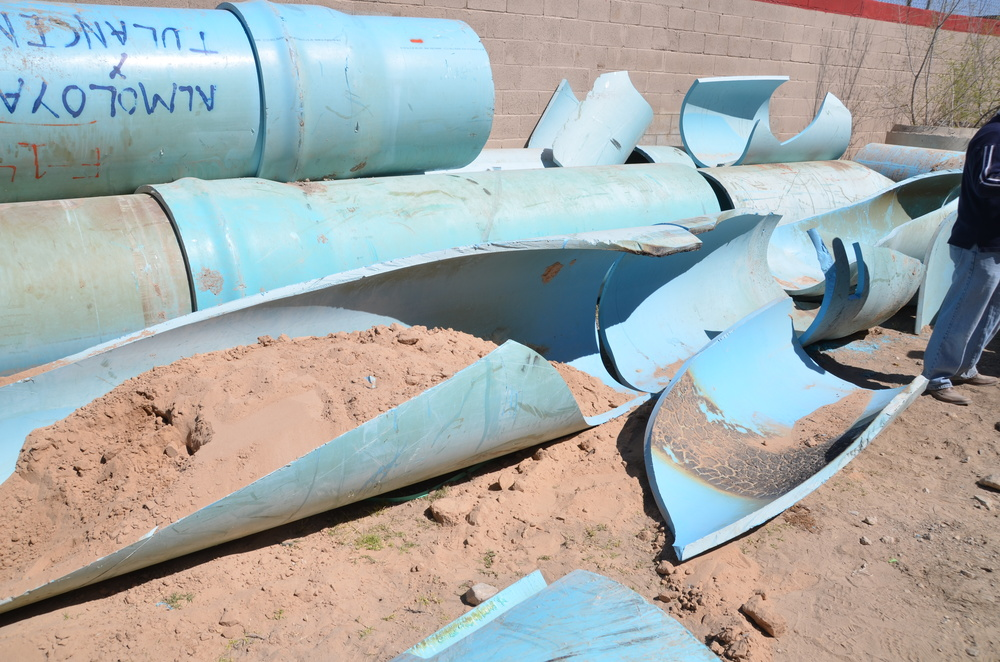 The image above shows how high residual stress on a weak pipe can cause what is referred to as a creep rupture.