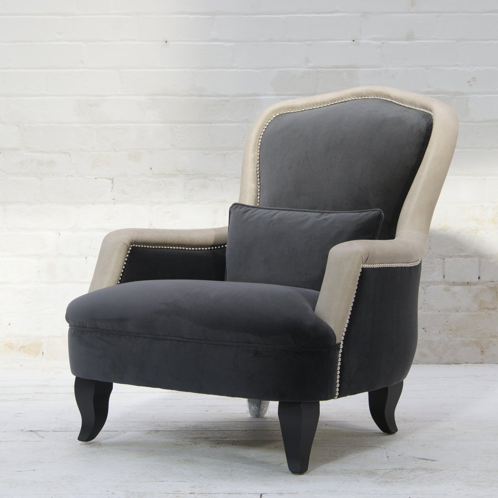 Alphonse Chair in Block Velvet Seal with Horatio Stone leather border.jpg