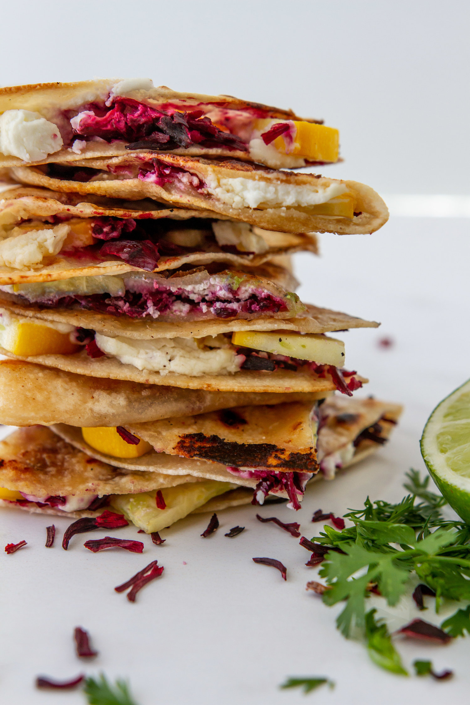 Goat Cheese Stuffed Quesadillas With Hibiscus And Summer Squash
