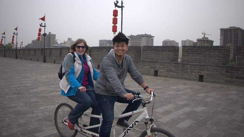 Biking on the city wall in Xi'an.JPG