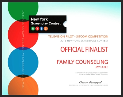 [FAMILY COUNSELING: New York Screenplay Contest] 2015 Finalist in TV Pilot- Sitcom category.