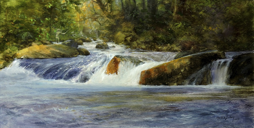 """Fishing The Upper Pool""   8x14 Watercolor will be in the ""Airstream"" art exhibition in Ohio"