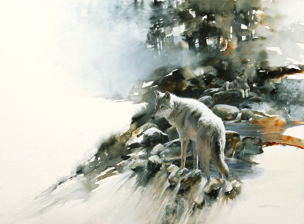 """Waiting For The Fog To Lift"" 22 x 30 Watercolor available in studio"