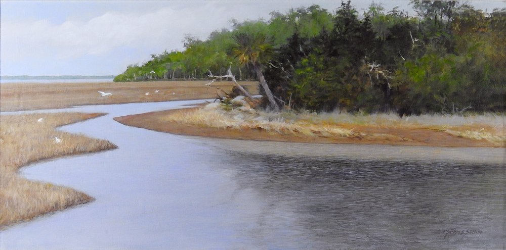 """High Tide"" 12 x 24 Acrylic Available at The Red Piano Art gallery, Bluffton, SC"
