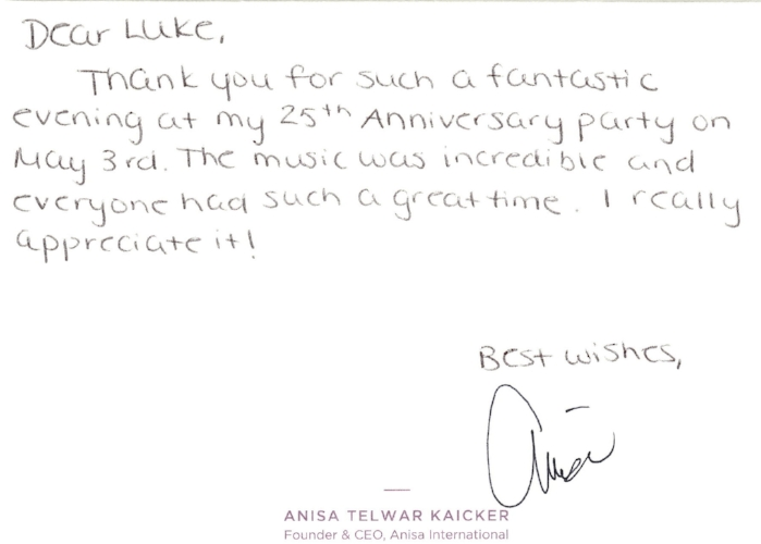 DJ CoolHand - Anisa Testimonial Thank You Card