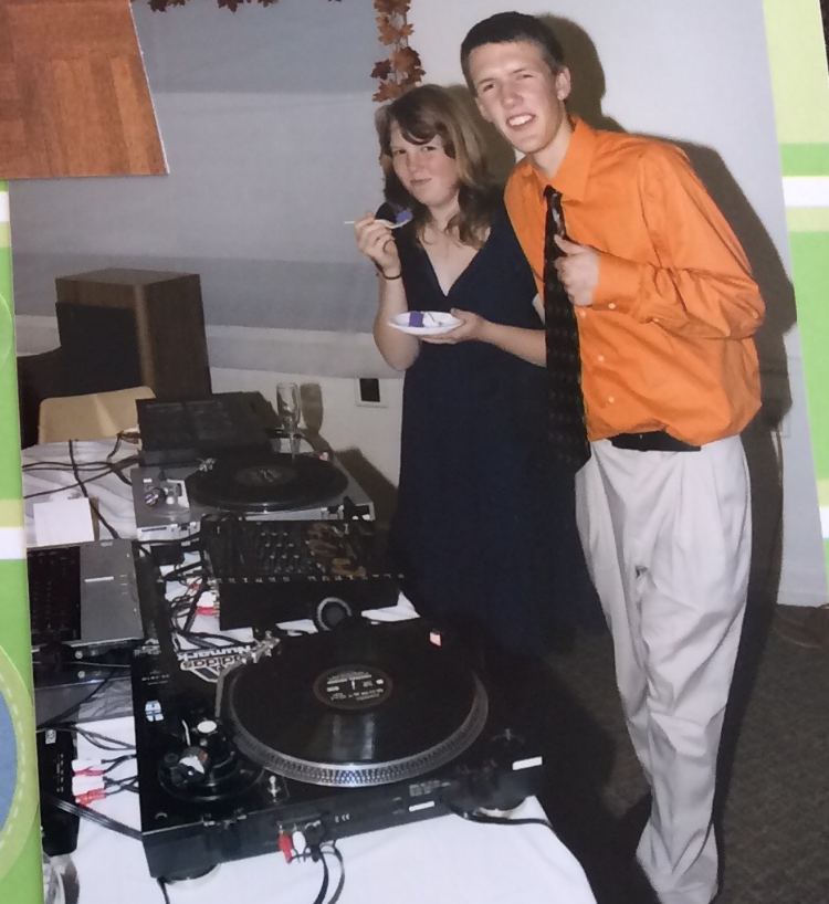 Me and my sister at my first wedding gig back in 2007