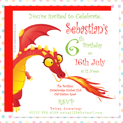 DRAGONS Personalised PARTY Invitation Cards – Dragon Birthday Invitations