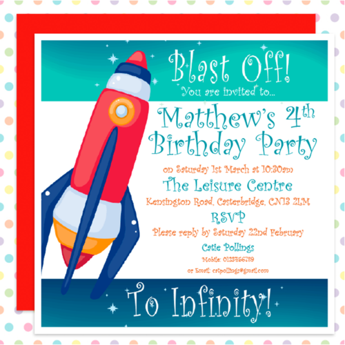 BLAST OFF Space ROCKET personalised PARTY Invites – Personalised Party Invites