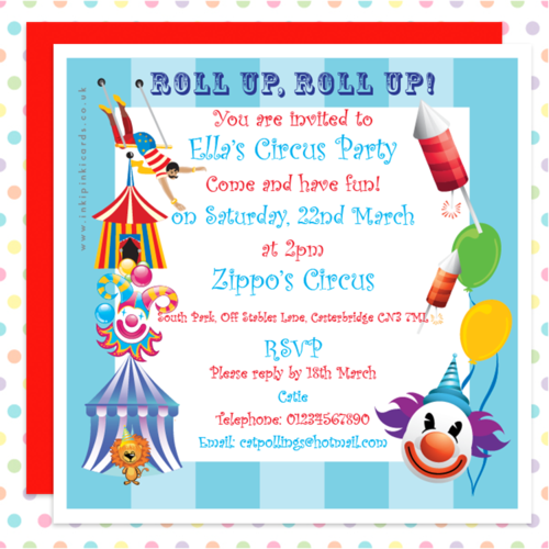 CIRCUS Party Personalised INVITATIONS Kids BIG TOP Blue Stripe – Personalised Party Invites