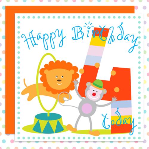 Cheeky Monkey Jolly 4th Birthday Card For Boys Girls