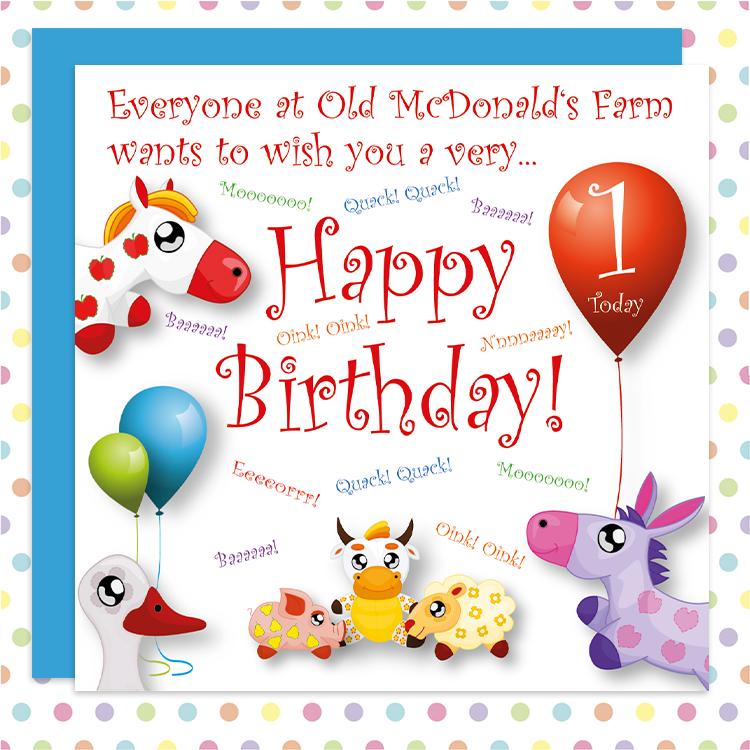 Old Macdonald Cute Babys 1st Birthday Card