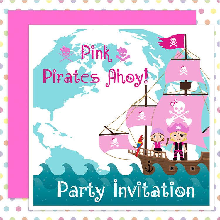 PINK PIRATES! Party Invites GIRLS can be PIRATES too!