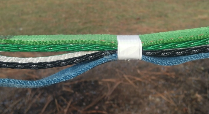 To throw in a new dynamic, add webbing or rope by taping it to your slackline. Only the top webbing is tensioned.