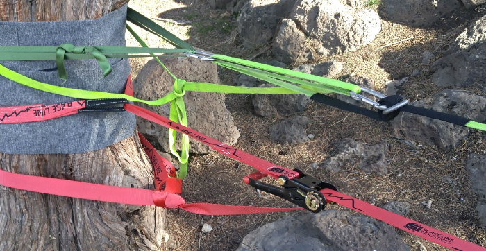 Primitive tensioning system (top/green) Ratchet tensioning system (bottom/red).
