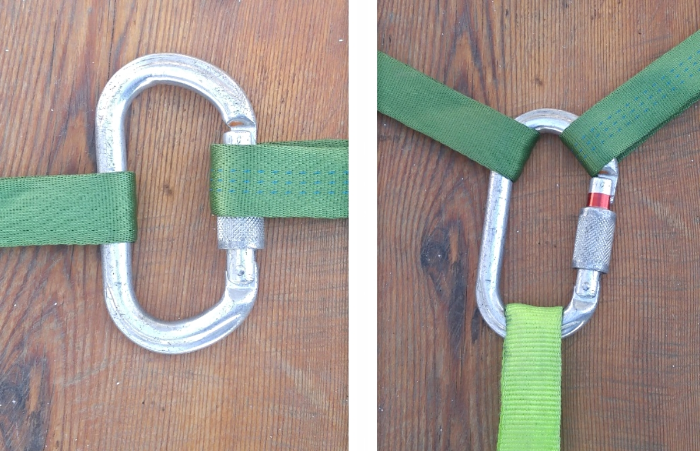 Cross loaded carabiner (left) and triloaded carabiner (right); both are improper ways to use carabiners.