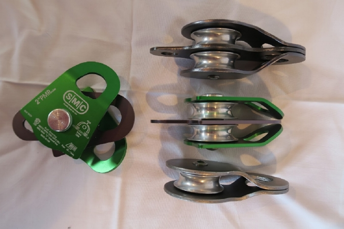 Pulleys; single and double with different side plates.