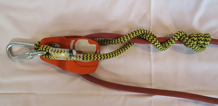 A VT on a 2'' pulley with 10.5mm rope.