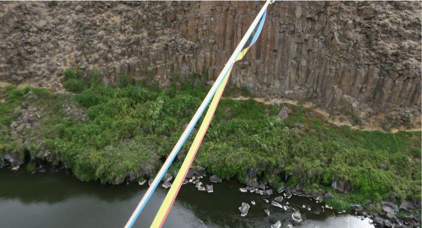 Webbing used as a backup over a huge gorge.