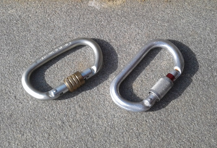 Steel carabiner (left) and aluminum carabiner (right).