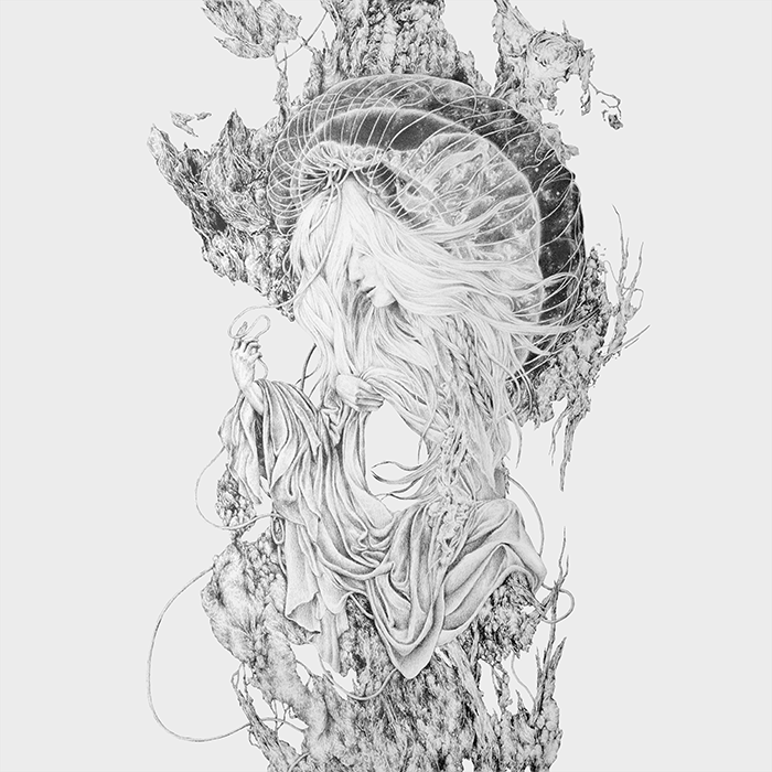 sun seeker album art created for a split between singaporean band sphearas and brazillian guys odradek. pencil on paper january 2016
