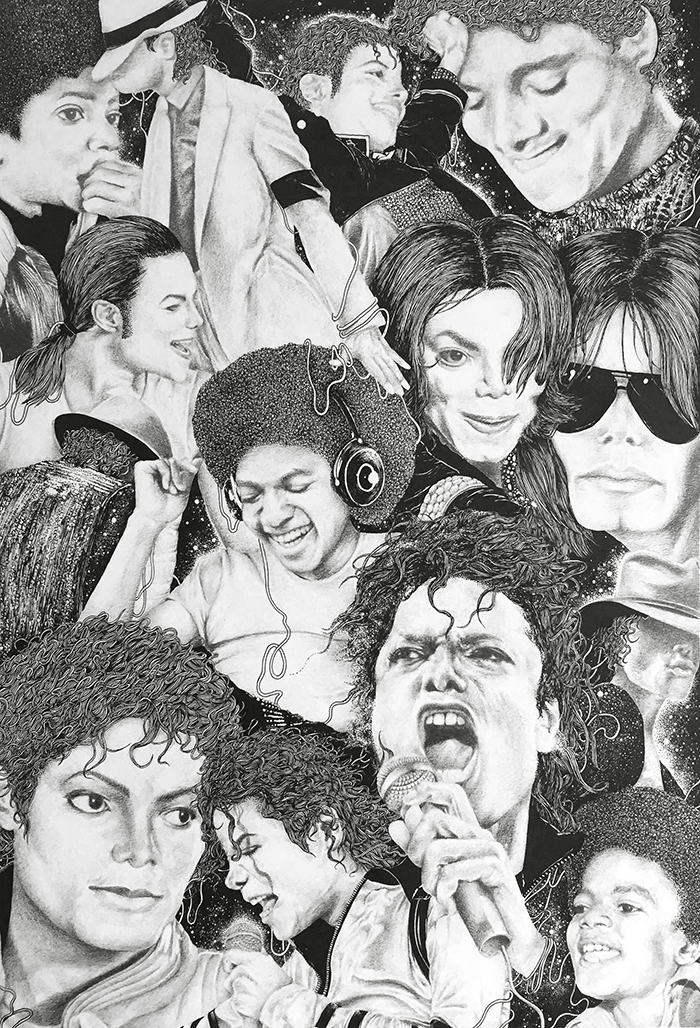 michael  created for the 'dead celebrities' show at kult gallery opens on the 2nd of april, 7pm.  pencil and ink on paper  march 2015