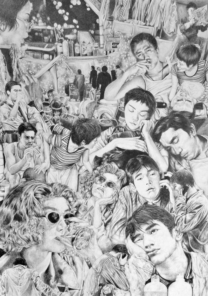 chungking jungle  created for an exhibition inspired by the cult hong kong film 'chungking express', artists come together to pay homage to this wong kar wai classic at kult gallery, 19 december.  pencil on paper november 2013