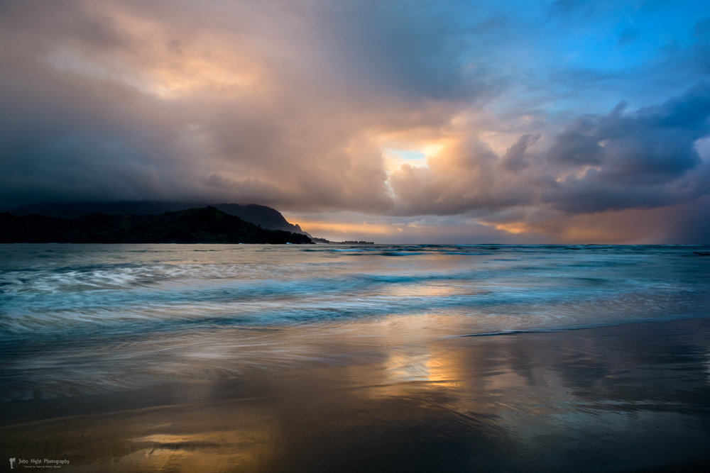Cloudy Sunset at Hanalei Bay