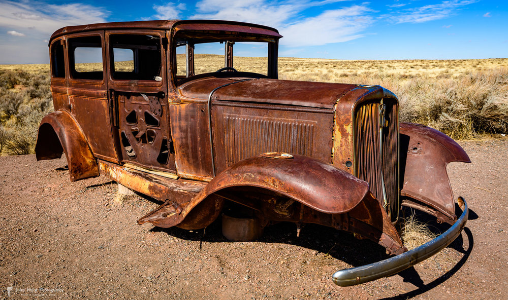 Route 66 Marker a 1932 Studebaker