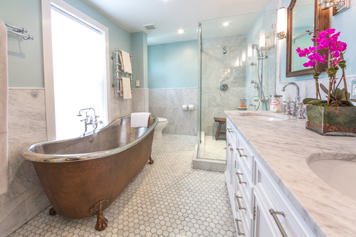 BROWNSTONE CLASSIC BATHROOM MARIE BURGOS DESIGN - Classic bathroom renovations