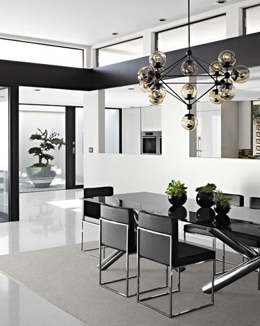 harpers vera-wang-dining-room-black white interior design cococozy