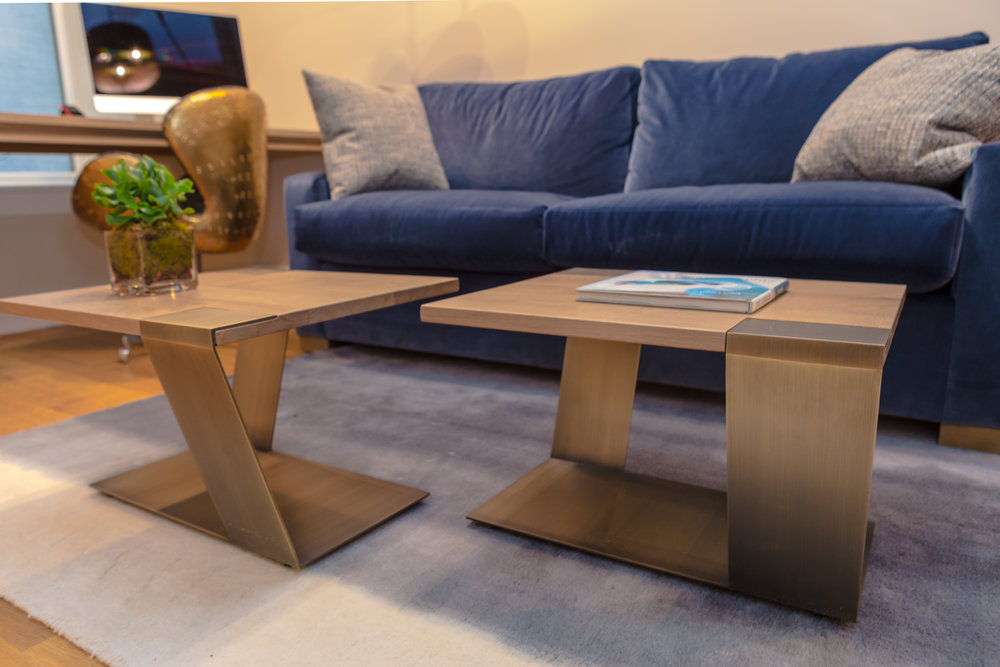 White oak & Metal legs coffee tables designed by MarieBurgosDesign. The use of clean contemporary lines and extraordinary custom furnishings make this Tribeca Bachelor Pad extremely inviting.