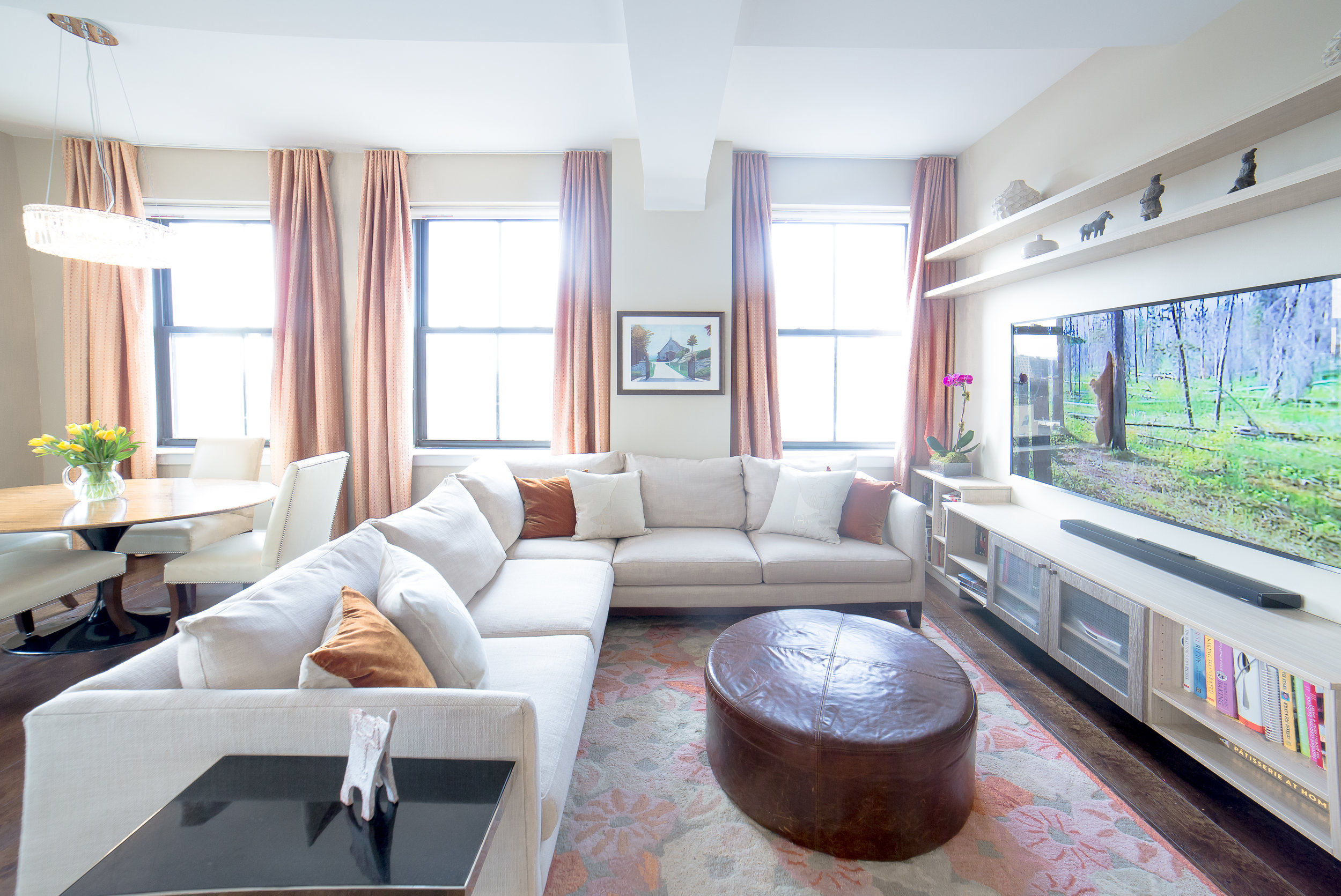 BEFORE AND AFTER LIVING ROOM THE BROOKLYN CLOCK TOWER RESIDENCE