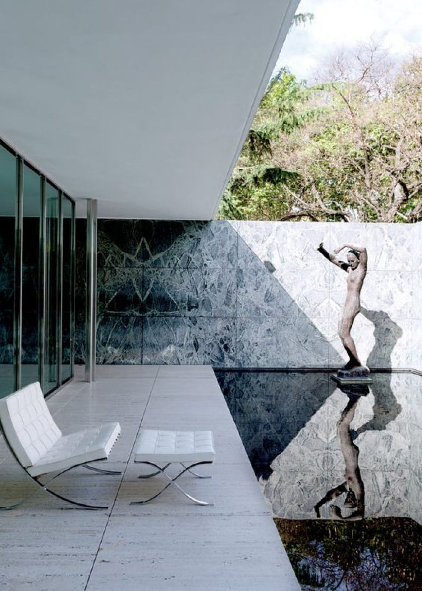 -	The Barcelona Pavilion, designed by Ludwig Mies van der Rohe