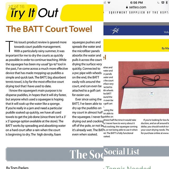 Great review from the PTR(professional tennis registry)! Batt Power!!#professionaltennisregistry #usta#squeegee #tennis