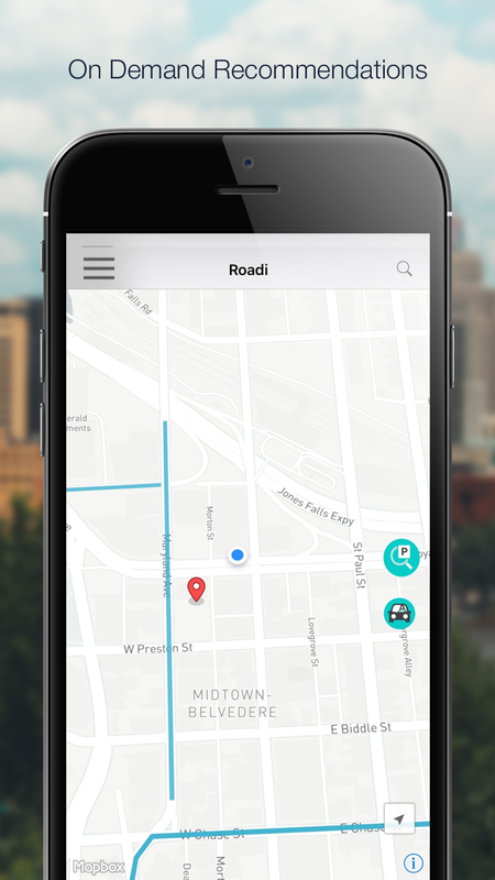 See when another user is sharing a parking space - You receive on demand recommendations