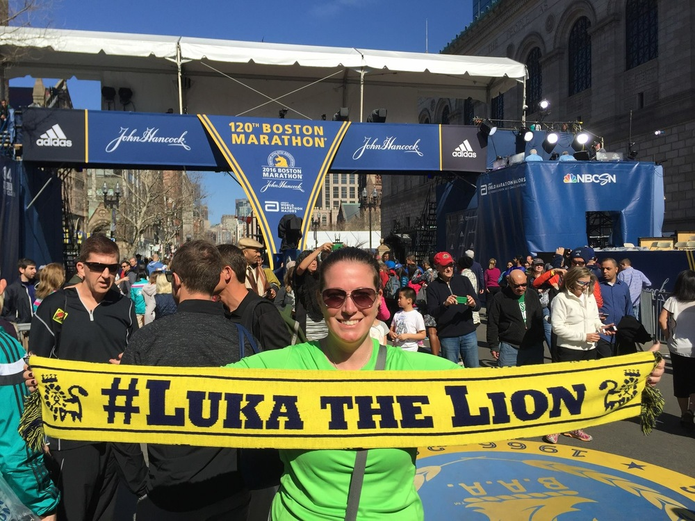 Nurse Johanna at the Boston Marathon 2016 finish line to honor #LukaTheLion and kids with rare disease at UNC Children's Hospital with a #ScarfChallenge