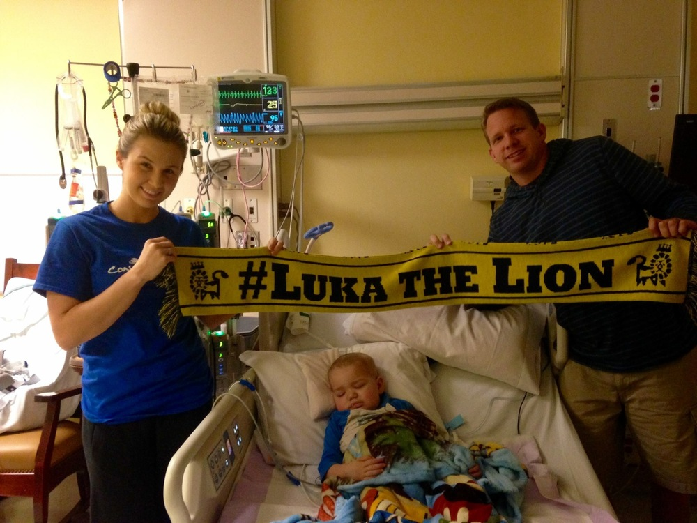 The Outleys with Connor at Duke Hospital, supporting #LukaTheLion and the Fishers at UNC Children's Hospital, both post bone marrow transplant for a rare primary immunodeficiency disease