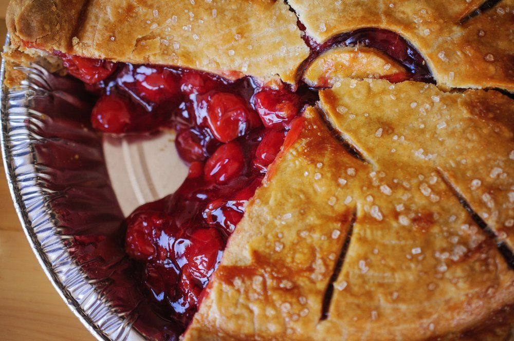 Friske Orchard's Farm Market handmade from scratch cherry pie in Atwood (Charlevoix), Northern Michigan
